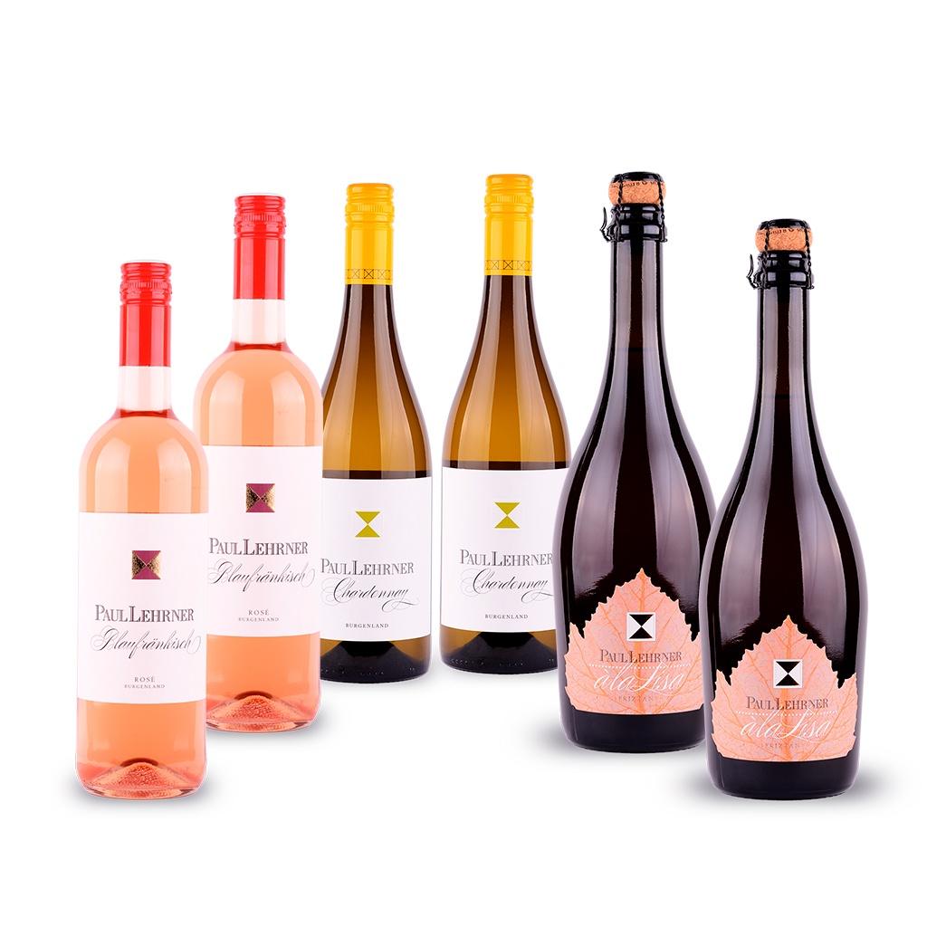 2 Chardonnay-, 2 Rosé und 2 Rosé-Frizzante-Flaschen